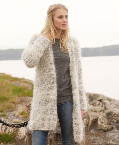 91894e32 Strik en fed og fluffy jakke | mohair sweaters | Strik, Jakke, Lang ...