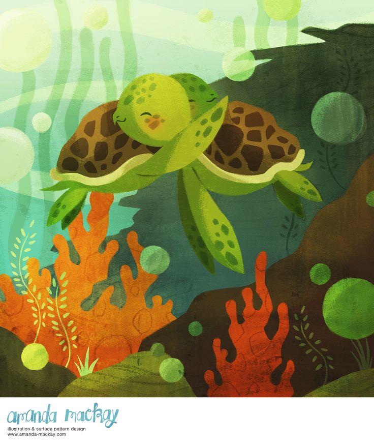 Turtle Hug - by Amanda MacKay Illustration