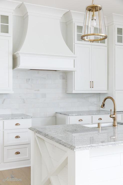 Stunning gray Salinas granite countertops feature a slight beveled edge on a shiplap panel kitchen island.