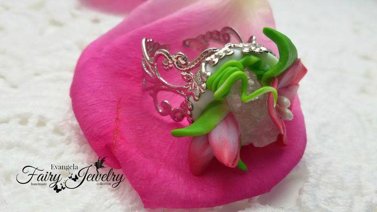 Anello geode naturale pietre dure fimo fiori bocciolo regolabile , by Evangela Fairy Jewelry, 12,00 € su misshobby.com