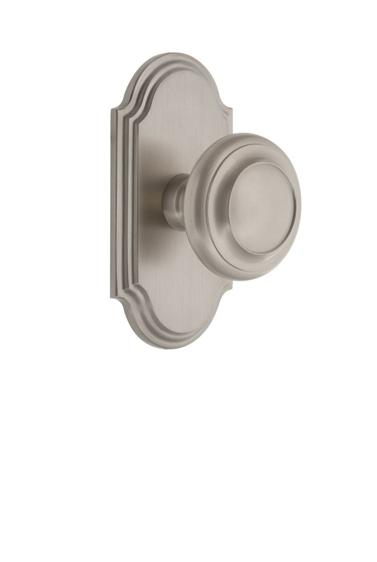 Arc Short Plate With Circulaire Knob Satin Nickel Door