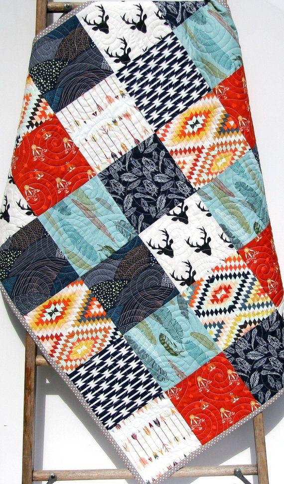 Baby Boy Quilt, Navy Blue Red Grey Gray, Elk Deer, Woodlands Birch Forest Modern Blanket Chevron Feathers Aztec Crib Bedding Children Baby