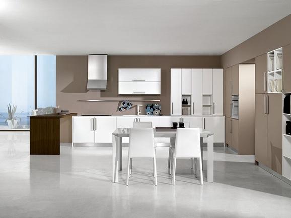 Cucina moderna finitura bianco e canapa con penisola tinta teak completa di cappa in acciaio - Cucine con cappa centrale ...