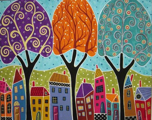 Houses Trees Folk Art Abstract