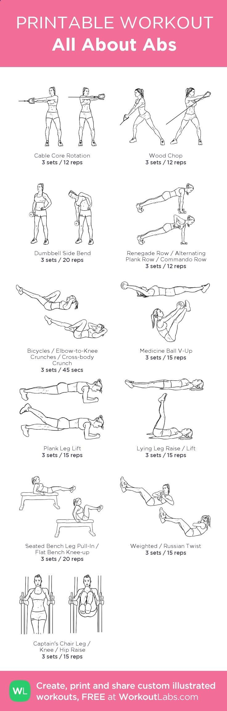 All About Abs:my visual workout created at WorkoutLabs.com • Click through to customize and download as a FREE PDF! #customworkout