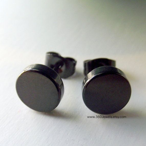 Mens Earrings Thick Steel Disc - Earrings for Men Black Stud, Goth or Gothic Style no.420AA