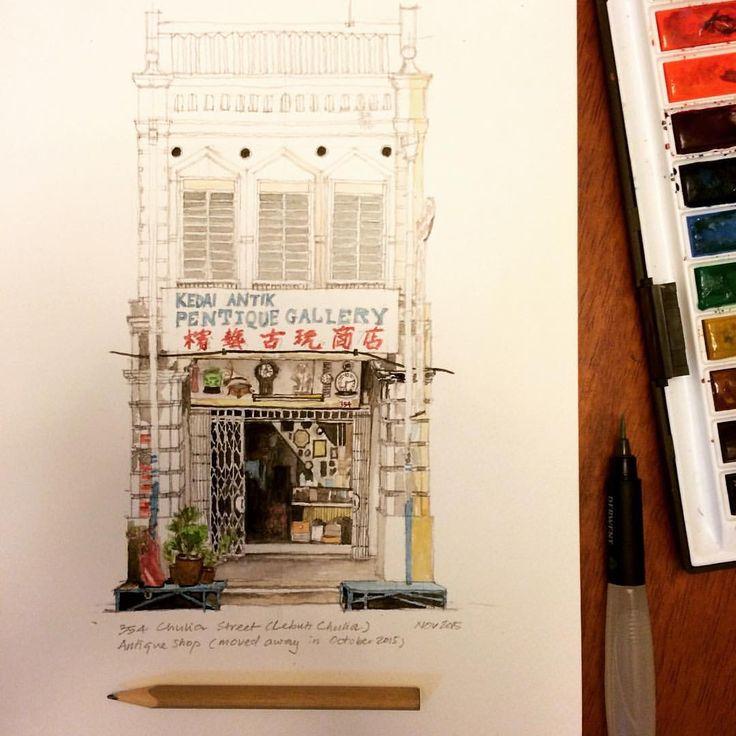 Antique shop #georgetown #penang #shophouse #watercolour #oldbuildings…