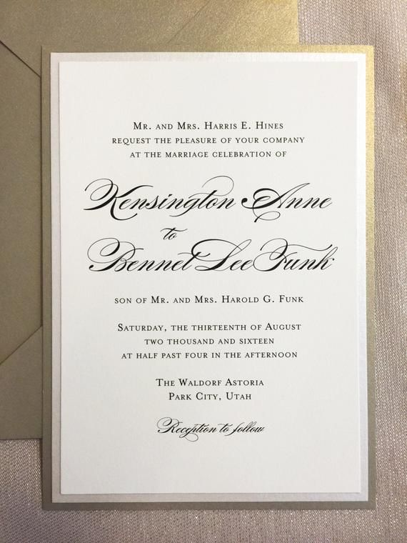 Wedding Invitation Champagne Gold Elegant Black Tie Etsy In 2020 Wedding Invitations Champagne Wedding Invitation Wording Formal Letterpress Wedding Invitations