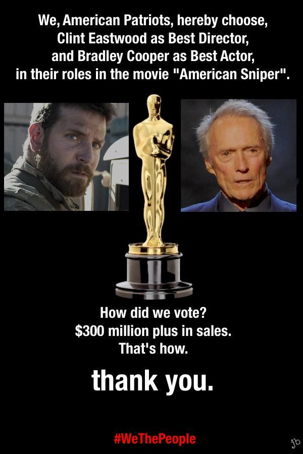 'American Sniper' sold more tickets than all of the other Oscar nominations for 2015 added together. We, the people, have voted.