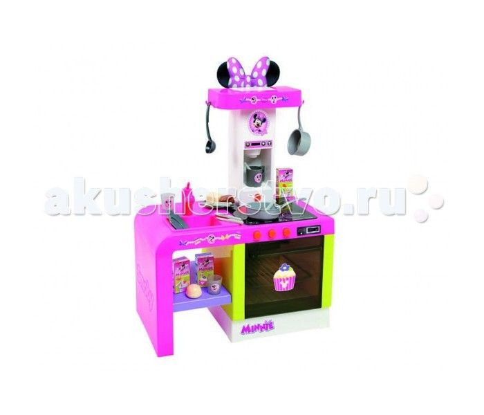 Smoby Кухня Cheftronic Minnie  Smoby Кухня Cheftronic Minnie - это компактная кухня в дизайне любимой всеми мышки Миннимаус, кухня со многими электронными функциями. Все как в настоящей кухне - мойка с краном (без воды), духовой шкаф с подсветкой, варочная панель (звуки шипения и варения), кофеварка с реалистичными звуками, полочки для размещения продуктов.   Особенности: предназначена для детей от 2-3-х лет и старше соответствует европейским стандартам безопасности оригинальный дизайн…