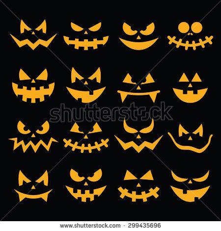 Scary Halloween orange pumpkin faces icons set on black by RedKoala #pumpkin