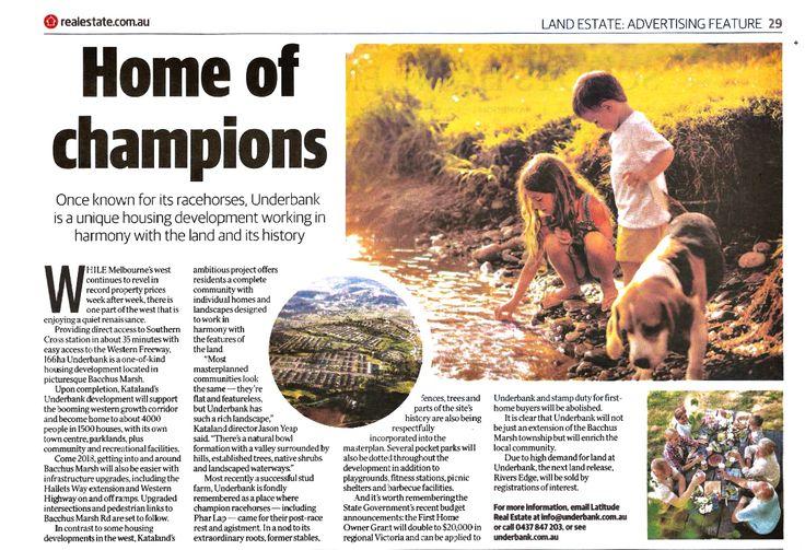 [Herald Sun] Home of Champions #Underbank #RiversEdge #BacchusMarsh #Victoria