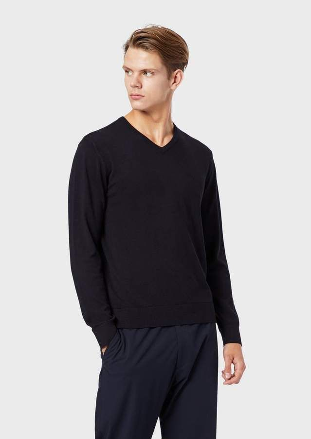 Emporio Armani Plain-Weft Knit Sweater With V-Shaped Neckline And Embroidered Logo