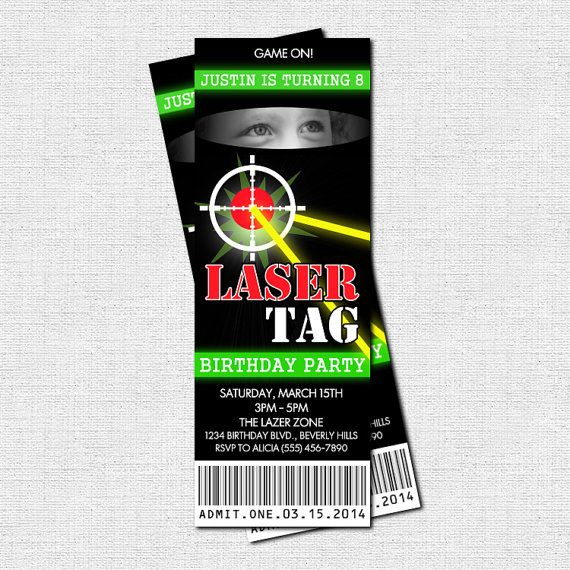 LASER TAG TICKET INVITATIONS - Lazer Tag Birthday Party  (printable)