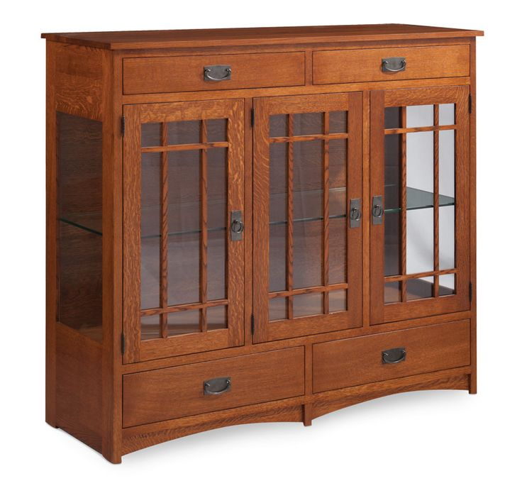 Prairie Mission 3-Door Dining Cabinet Glass Doors and Ends from Simply Amish furniture