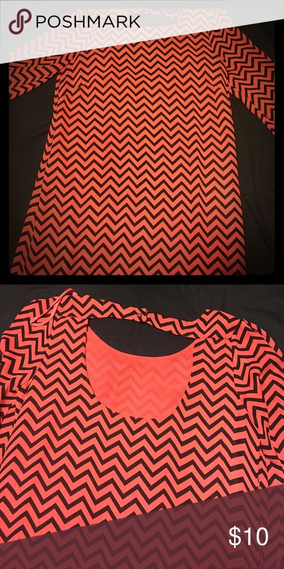 Cute navy blue and orange chevron dress Orange and blue chevron dress with bell sleeves! Also, has the cutest key hole cut out in the back! Ark & Co Dresses Long Sleeve