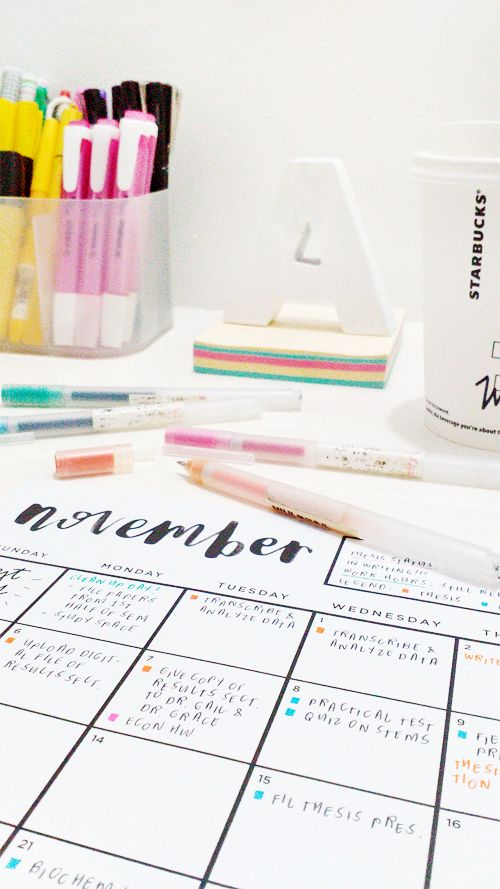 my november calendar printables in action (download it for free at http://www.thearialligraphyproject.tumblr.com)