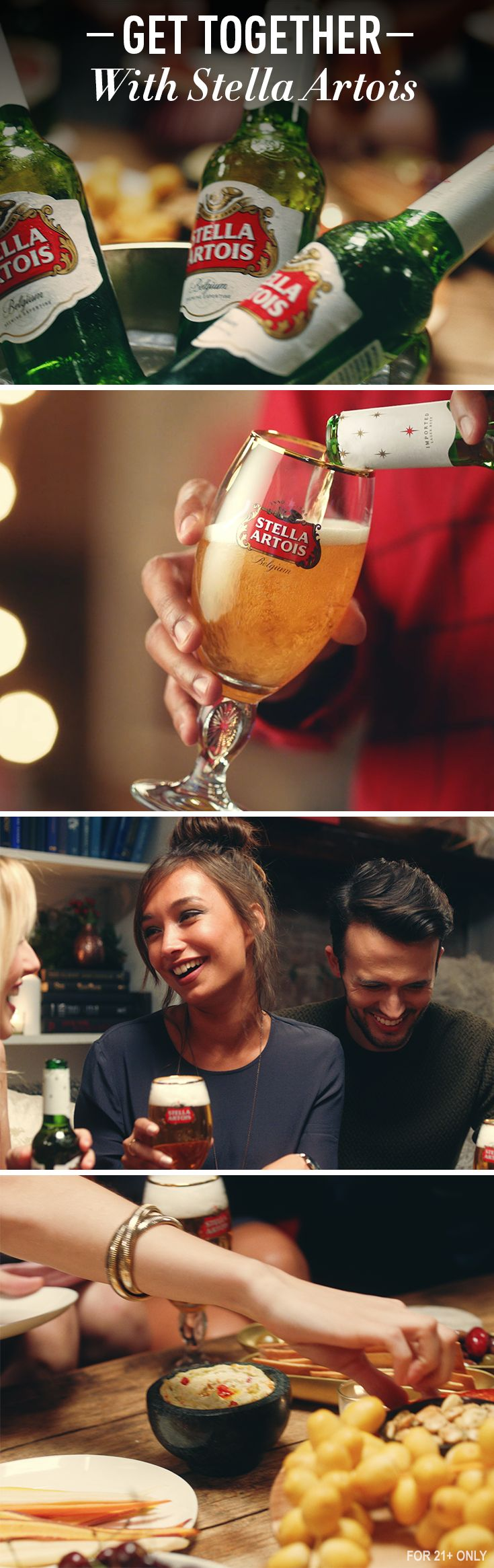 Stella Artois is brewed for all holiday celebrations. Our universally loved crisp taste and sophisticated Chalice are the perfect partners to help party guests get to know one another over casual bites.