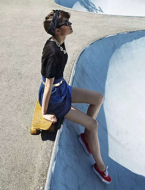 Skate Park Editorials - The ELLE Hungary August 2013 Photoshoot Stars a Sporty Chic Kate Kondas (GALLERY)