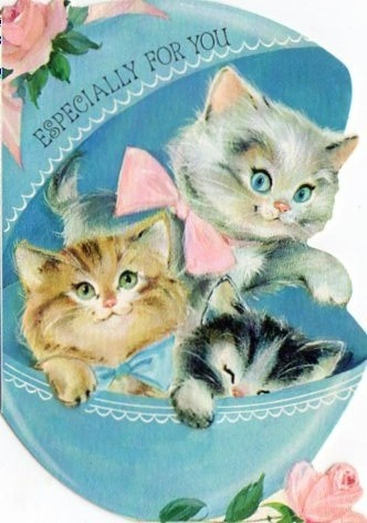 HAPPY EASTER! ESPECIALLY FOR YOU, MARY KAY AND MELISSA, MY BFF'S  :)  Luv You Both So Much! ❤️❤️❤️  |  Cute Vintage Easter Card With 3 Cute Kittens! #Easter #Cat