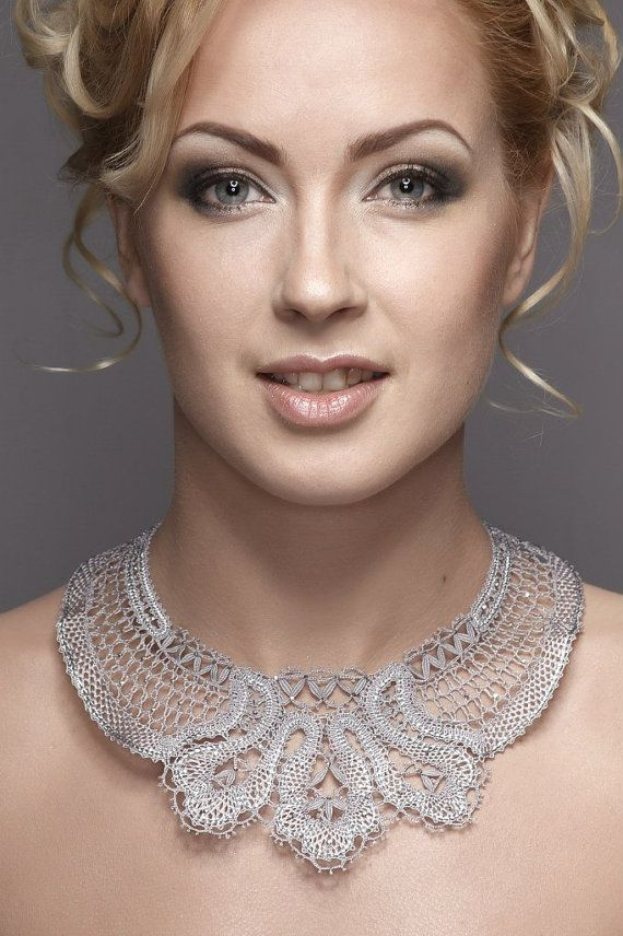 Unique Russian handmade bobbin lace necklace by Russianlaces, $588.00
