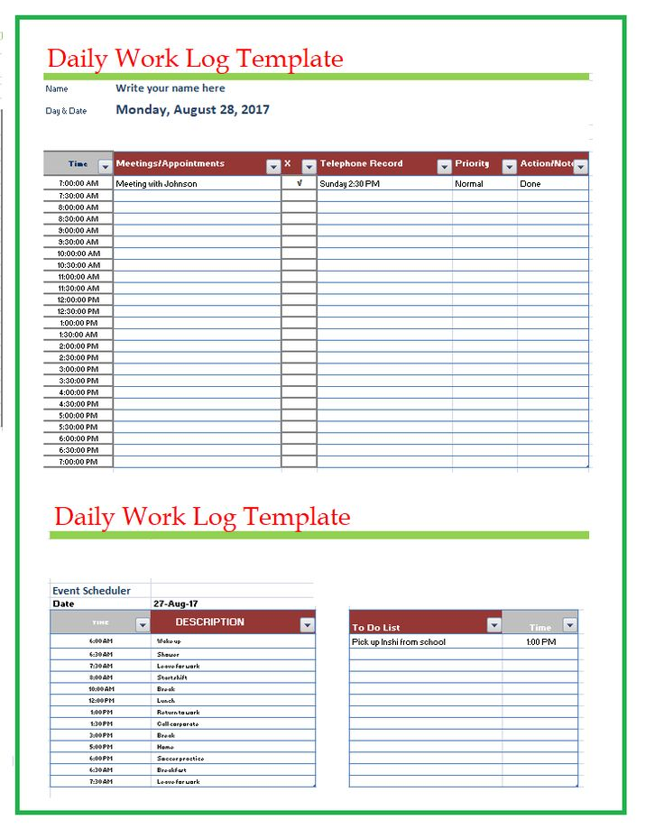 Daily Work Log Templates