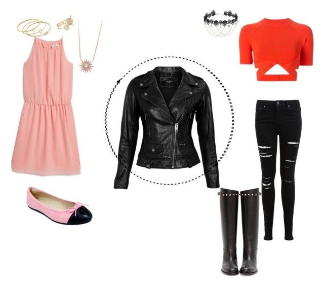 """""""Two ways to rock a leather jacket"""" by sprinkleofenchantment ❤ liked on Polyvore featuring Alexander Wang, Miss Selfridge, Valentino, VIPARO, MANGO, Babe, Ted Baker and Madewell"""