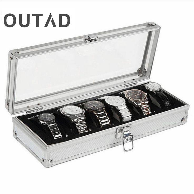6 Inserto Griglia Slot Orologi Mostra Storage Box Cassa Dei Monili di Alluminio Della Vigilanza Contenitore di Monili Decorazione