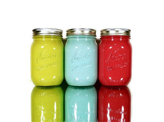 Christmas Home / Office / Dorm Decor - Painted Mason Jars - Vase - Neon Trio. $15.00, via Etsy.