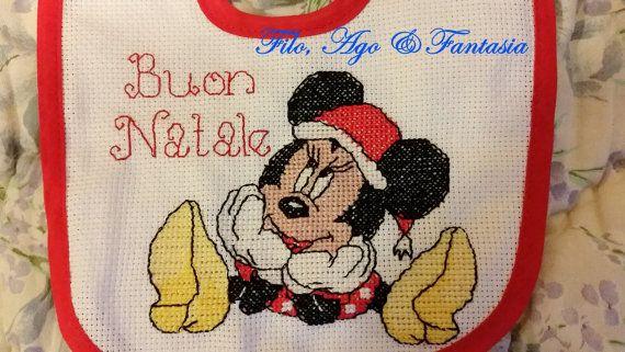 Bavaglino Natale Minnie Punto Croce Buon Natale - Christmas Baby Girl Bib