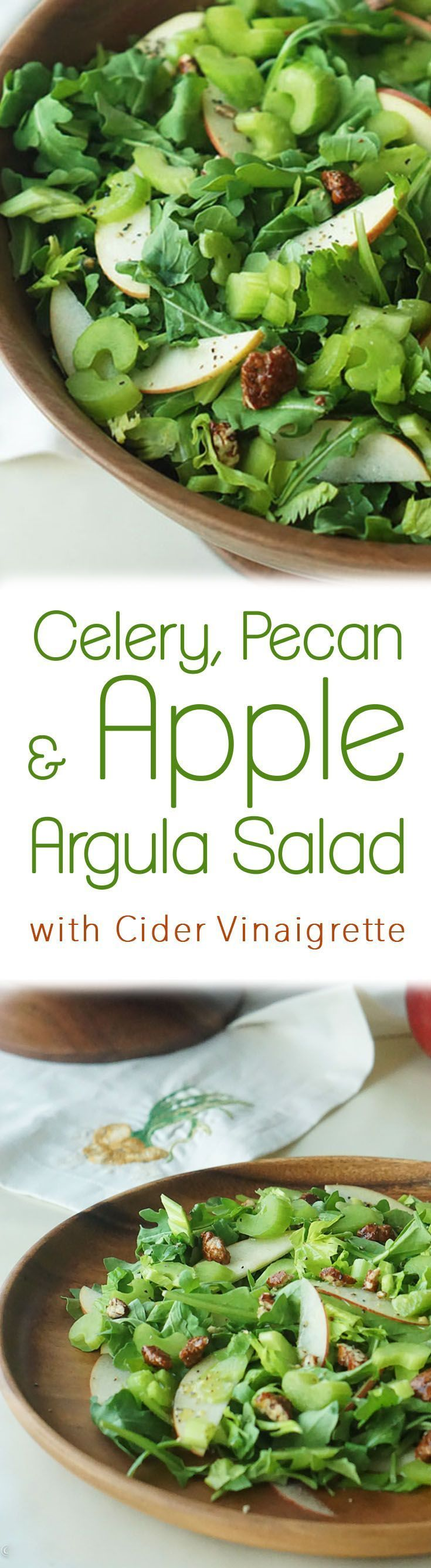 A healthy crunchy celery pecan apple and arugula salad with a cider vinaigrette that is low in fat and a perfect Thanksgiving side dish.