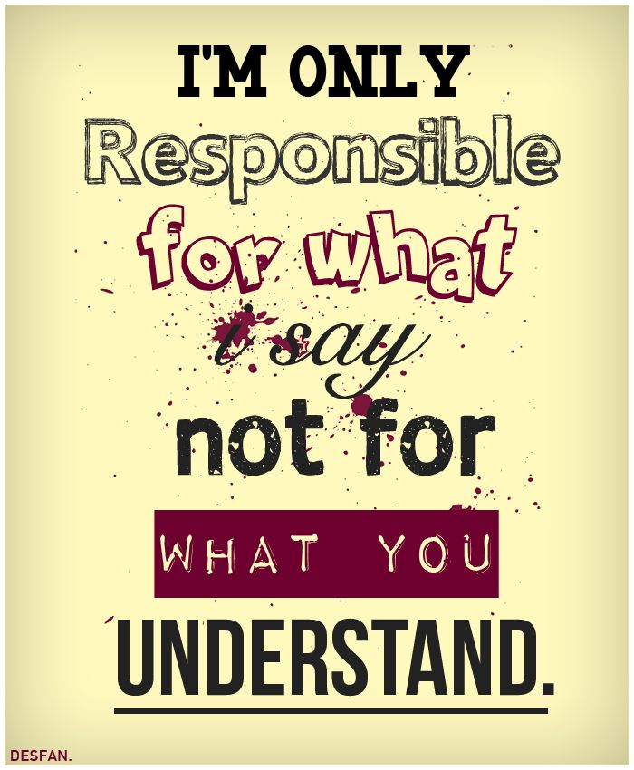 I'm only responsible for what I say, not for what you understand. thedailyquotes.com
