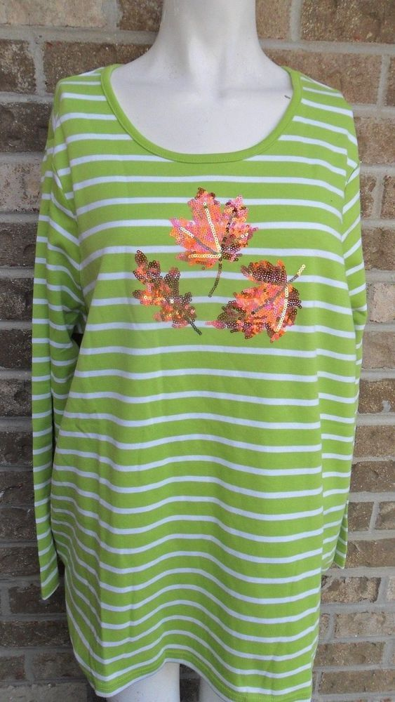 Quacker Factory Tee Blouse Top Green/White Stripe/Leaves Sequins