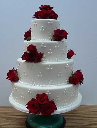 Wedding Cakes with Roses | Wedding Cakes Pictures: Four Tier Round Red Roses Wedding Cake