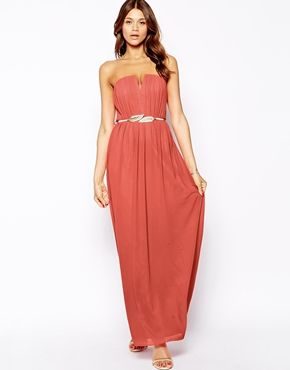 Little Mistress Bandeau Pleated Maxi Dress with Gold Belt