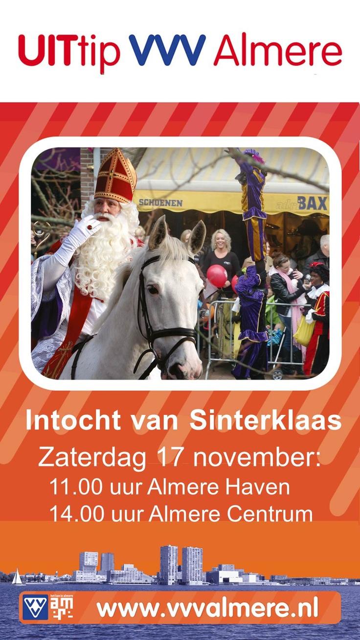 Sinterklaasintocht Zaterdag 17 november   11:00 Almere Haven, 14:00 Almere Centrum. www.VVVAlmere.nl