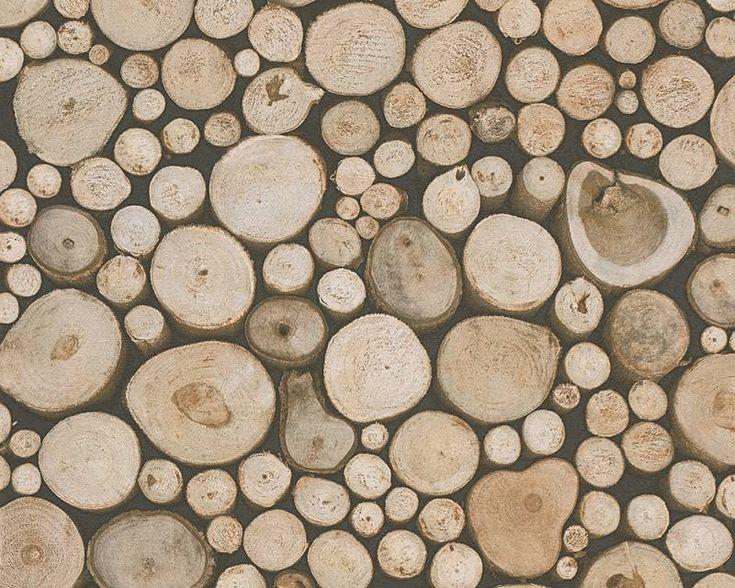Dekora Natur boomstammen 95836-1 - hout behang - boomstammen behang - landelijk behang - landelijk interieur - De BehangwinkelierDe Behangwinkelier