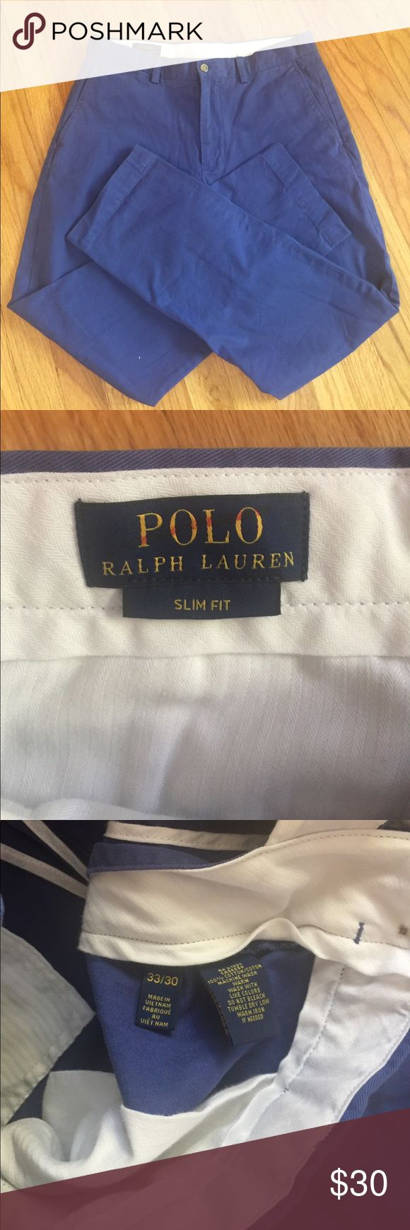 Men's 33 x 30 POLI Ralph Lauren Slim Fit PANTS These are great-looking pair of pants by Ralph Lauren for polo. They are a size 33 x 30. They are blue in color they are 100% cotton. They are slim fit with two pockets in the front and two pockets in the rear. They are in excellent condition. Polo by Ralph Lauren Pants Chinos & Khakis