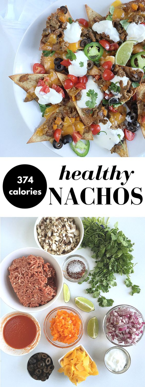 Homemade healthy nachos recipe with baked tortilla chips, ground beef, and all the fixins! Here's a hearty portion of your favorite appetizer for only 374 calories! Feel free to make this nacho recipe without beef for a vegetarian version!: