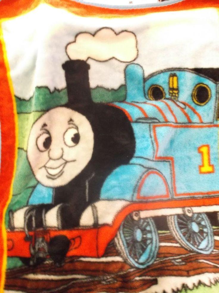 """Thomas The Tank Engine Blanket Train Baby Toddler Blue Red Plush Throw 39"""" x 28"""" #ThomasTheTank"""