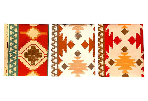 "Southwestern Wallpaper Samples, S/3 on OneKingsLane.com  described by The Paw & Beak Set of three Southwestern-themed wallpaper samples in shades of burnt orange, red, yellow, brown, and cream, taken from a Louis W. Bowen, Inc. wallpaper book, 1978. Each, 13.5""L x 16""H."