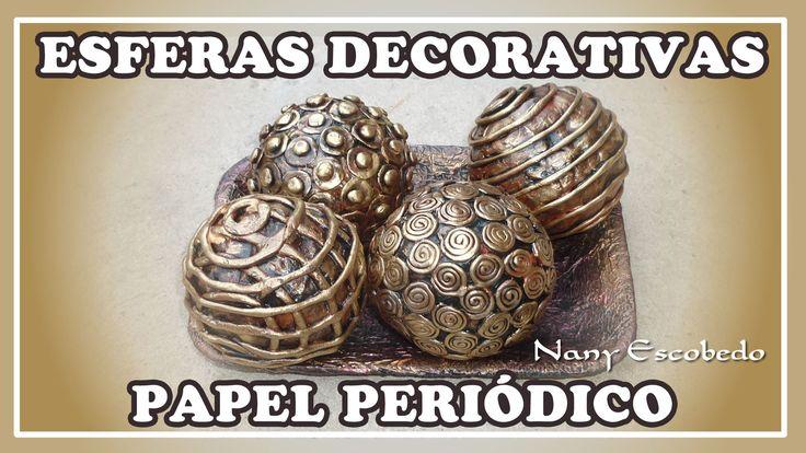 ESFERAS DECORATIVAS CON PAPEL PERIÓDICO
