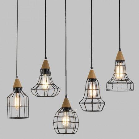 Hanglamp Wish zwart met hout - set van 5
