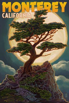 Monterey, California - Cypress & Full Moon - Lantern Press Poster