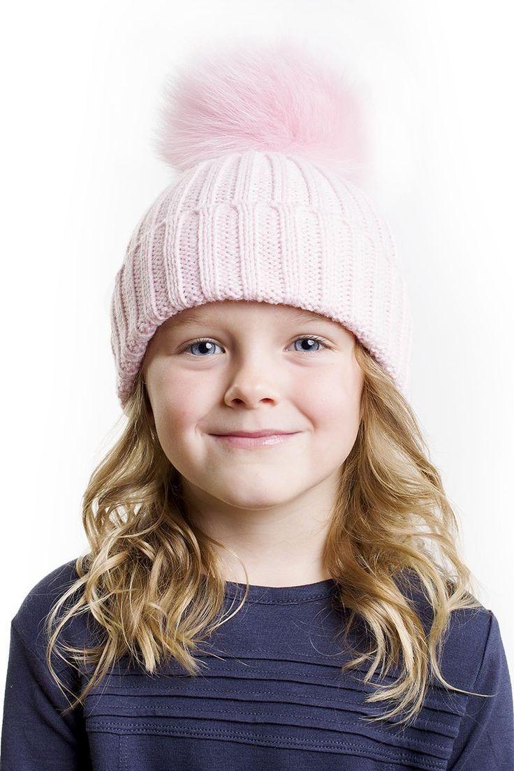 Kids Fur Bobble Hat in Baby Pink - Hats