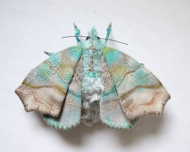 Fabric sculpture -Herald Moth textile art by YumiOkita on Etsy.