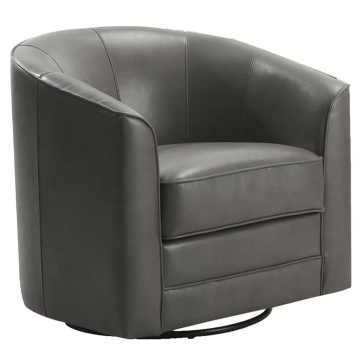 Emerald Home Furnishings Milo Bonded Leather Swivel Chair - Gray - Accent Chairs at Hayneedle