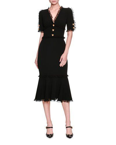 B3XXQ Dolce & Gabbana Lace-Trim Tiger-Button Cady Dress, Black
