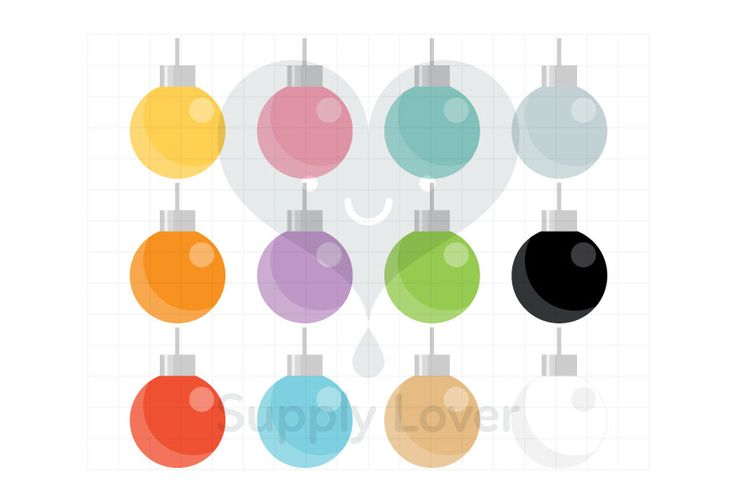 CHRISTMAS BAUBLES Clip-Art Commercial Use, Christmas Tree Decoration, Decor, Bauble, Round, Christmas Ball, Shiny, 12 Colors  - B0010