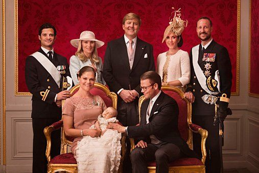 Princess Estelle, parents Crown Princess Victoria and Prince Daniel and Godparents. Prince Carl Philip of Sweden (uncle), Anna Westling Soderstrom (aunt), Crown Prince Wilhelm Alexander of the Netherlands, Crown Princess Mary of Denmark, Crown Prince Haakon of Norway.